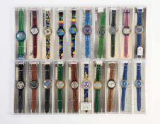 Swatch, 20 verschiedene Herrenuhren (u.a. Chrono), Swiss made, OVP Swatch, 20 several Men's