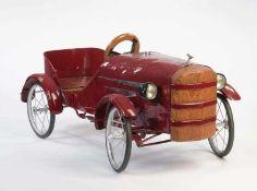 Tretauto, 88 cm, Blech, Dellen, neu lackiert Paddle Car, tin, dents, repainted