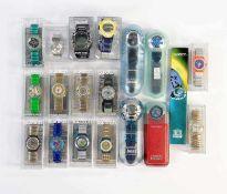 Swatch, 20 Uhren (meist Irony + Scuba) inklusive Raritaeten, Swiss made, OVP, unbenutzte