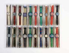 Swatch, 20 verschiedene Herrenuhren, Swiss made, OVP, unbenutzte Sammlerstuecke Swatch, 20 Several
