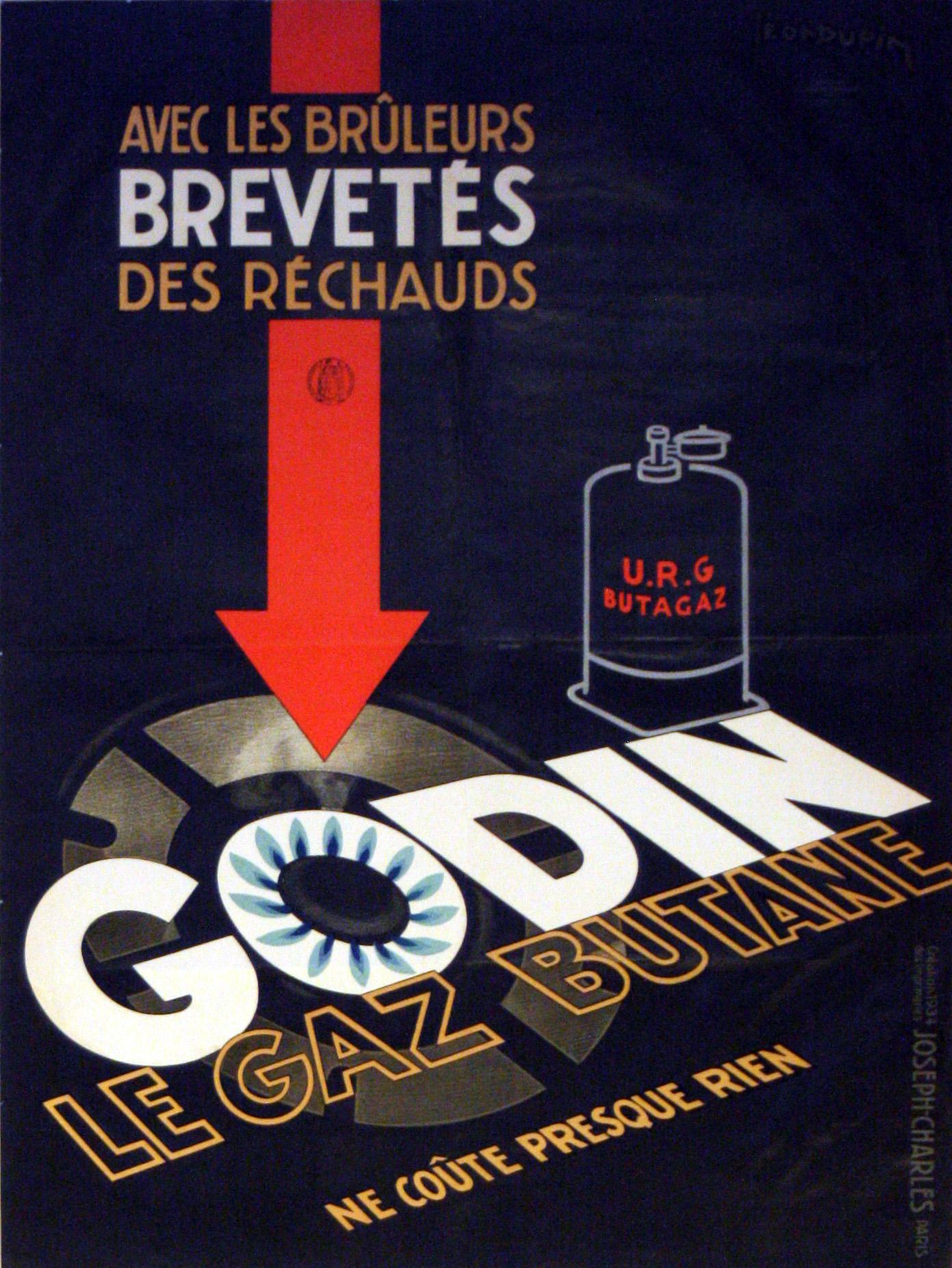 Le Gaz Butane à original vintage advertising poster for godin le gaz butane. art