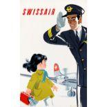 Travel Poster Swissair Pilot DC-7 Cairo