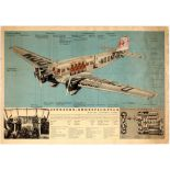 Advertising poster Lufthansa Nazi Third Reich Junkers Ju 52 Airplane