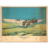 Advertising poster Rohrbach Roland Airplane Lufthansa BMW