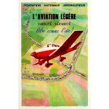 Advertising Poster Light Aircraft Easy Safe Free as a Bird National Aeronautics Federation