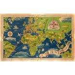 Advertising Poster Air France Worldwide Airline Network Map