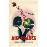 Travel Poster –Air France Reseau Aerien Mondial Worldwide Air Network