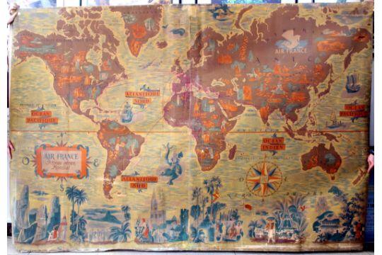 Rare large original vintage planisphere poster map of Air France ...