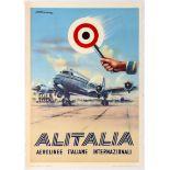 Travel Poster Alitalia International Italian Airline.