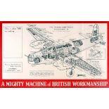 War Poster Cutout Wellington II Airplane WWII UK
