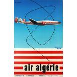 Advertising Poster Air Algeria Lockheed Constellation Mid Century Georget