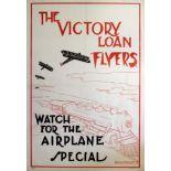 War Poster WWI Victory Loan Flyers Aeroplane Train