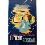 Advertising Poster Danish Airlines Luftfartselskab DDL