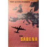 Advertising Poster Sabena - All the Skies of Europe