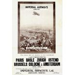 Advertising Poster Imperial Airways Travel By Air De Havilland DH 34