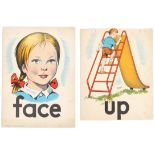 Set of 4 Original Children Dictionary Poster Cards Face Up Down Over