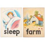 Set of 4 Original Children Dictionary Poster Cards Farm Sleep Dig Make