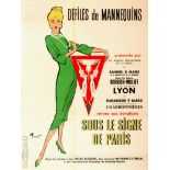 Original Advertising Poster Fashion Models Catwalk Lyon France