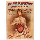Original Advertising Poster Corset Paris Lingerie France