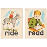 Set of 4 Original Children Dictionary Poster Cards Read Ride Swing Table