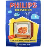 Original Vintage Advertising Poster Phillips Television poster