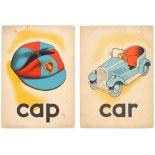 Set of 2 Original Children Dictionary Poster Cards Car Cap