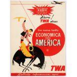 Original Vintage Advertising Poster TWA USA Constellation Cowboy