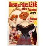 Original Advertising Poster Wigs Hairpieces Belle Epoque France