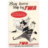 Original Vintage Advertising Poster TWA Cargo Midcentury Modern