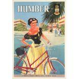 Original Vintage Advertising Poster Humber Bicycles