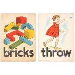 Set of 4 Original Children Dictionary Poster Cards Throw Bricks Jump Chair