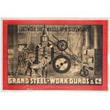 Original Vintage Circus Advertising Poster Duro Grand Steelworks