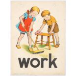 Original Children Dictionary Poster Card Work