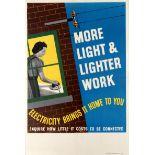 Original Advertising Poster Electricity Brings More Light Lighter work