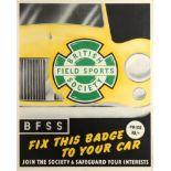 Original Advertising Poster British Field Sports Society Car Badge