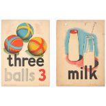 Set of 4 Original Children Dictionary Poster Cards Milk Three Balls Climb Hand