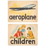 Set of 2 Original Children Dictionary Poster Cards Aeroplane Children