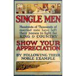 War Poster Single Men WWI Recruitment UK