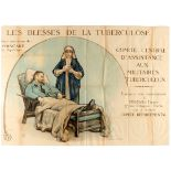 WWI War Poster Wounded Tuberculosis Hospital France