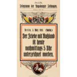 War Poster Peace Signed With Russia WWI Telegramm Der Augsburger Zeitungen