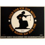 War Poster Give Gold For The Fight WWI Kaiser Germany Gipkens