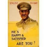War Poster Enlist Today He Is Happy WWI UK