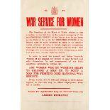 War Poster War Service For Women Board Of Trade WWI Emancipation