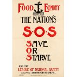 War Poster Food Economy National Safety SOS Save Or Starve WWI