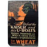 War Poster Eat Less Wheat WWI