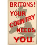 War Poster Britons Your Country Needs You WWI UK