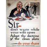 War Poster Food Waste Home Front Restaurant USA