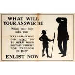 War Poster Father What Did You Do WWI UK