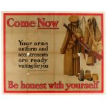 WWI War Poster Come Now Be Honest Recruitment