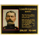 WWI War Poster Lord Kitchener Enlist Today Recruitment